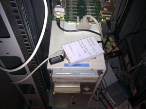 The Raspberry Pi with entropy key temporarily installed in a wiring closet
