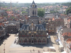 The view of the town hall from the top of the church tower in Delft
